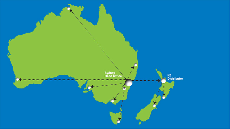 australia new zealand delivery distribution map