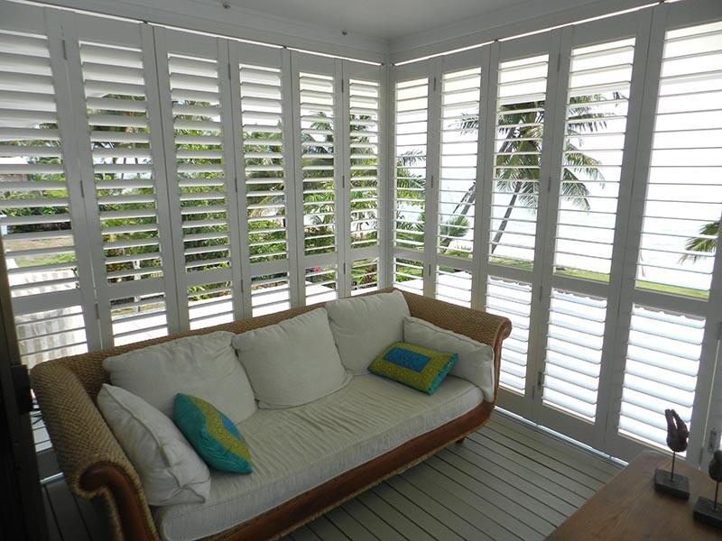view looking through external shutters