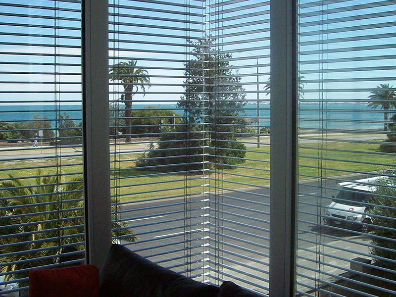 view through exterior blinds