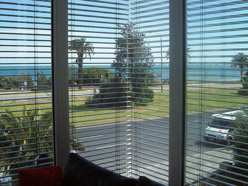 view through exterior blinds